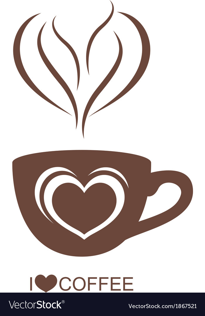 Coffee cup with heart vector | Price: 1 Credit (USD $1)