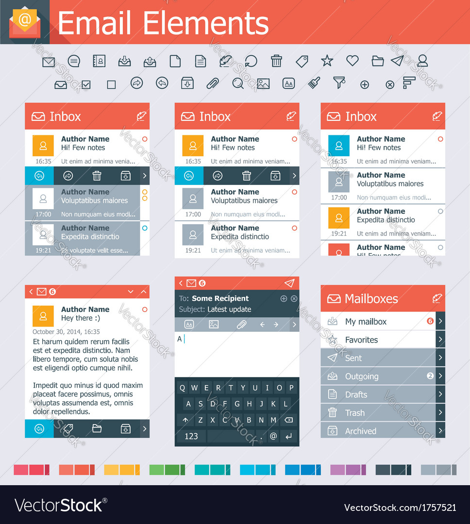 Email elements vector | Price: 1 Credit (USD $1)