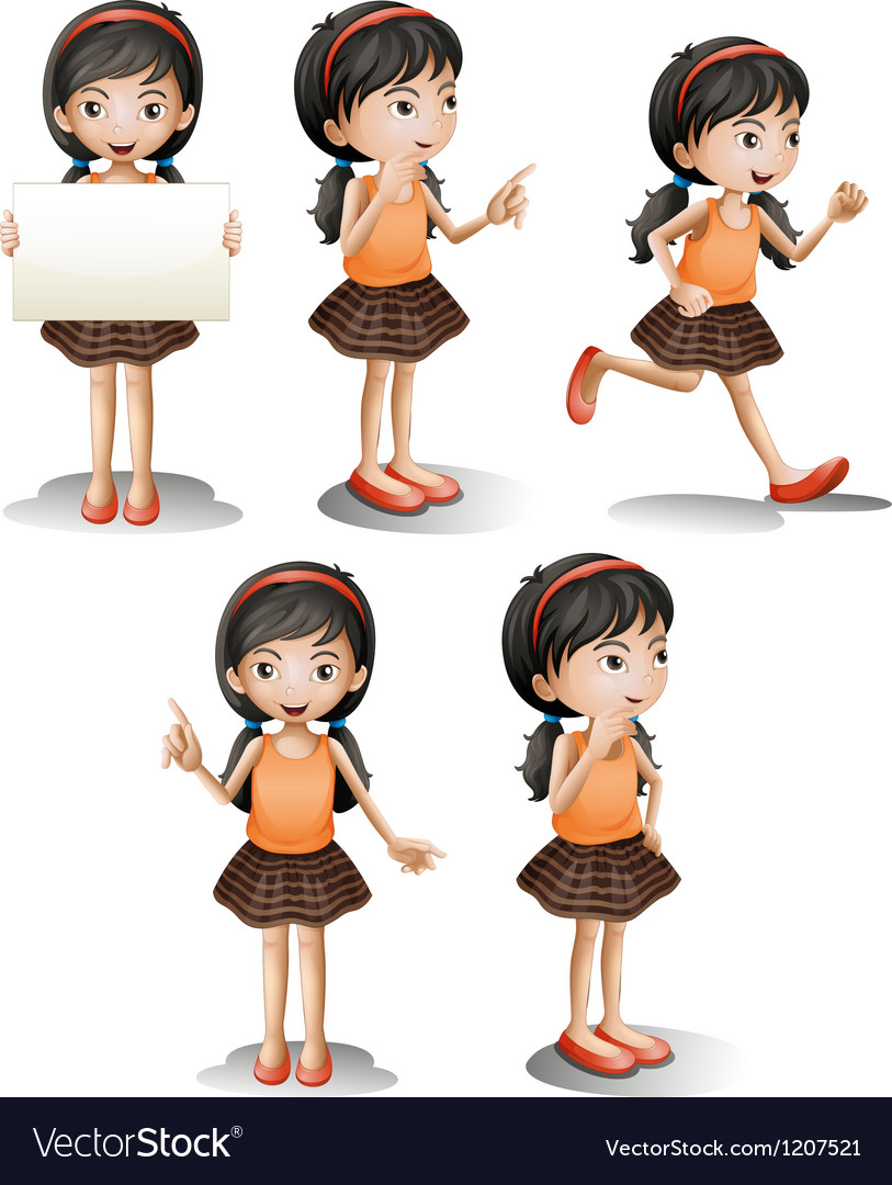 Five different positions of a girl vector | Price: 1 Credit (USD $1)