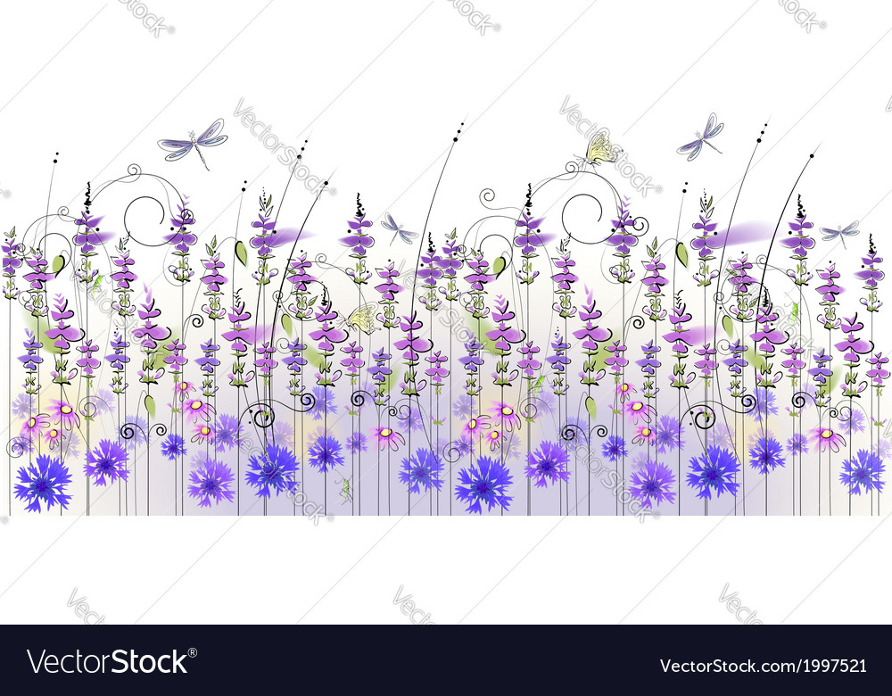 Floral background of wildflowers vector | Price: 1 Credit (USD $1)