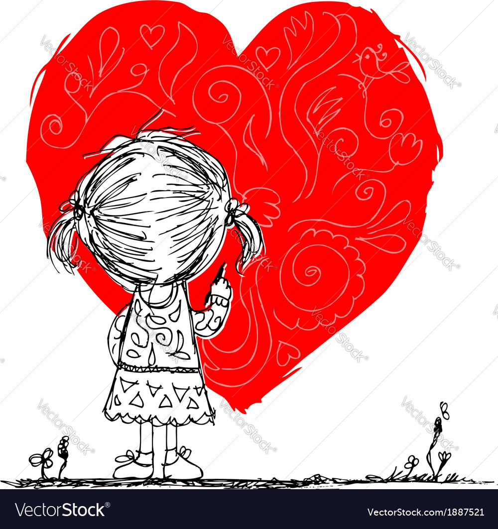 Girl draws red heart valentine card sketch for vector | Price: 1 Credit (USD $1)