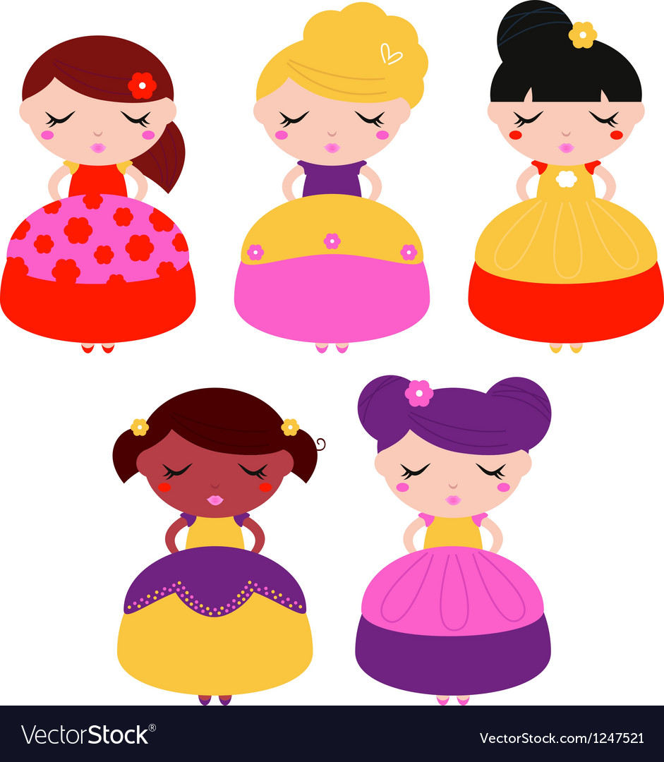 Little colorful princes set isolated on white vector | Price: 1 Credit (USD $1)