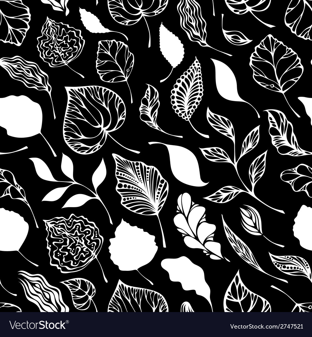 Seamless pattern of leaves vector | Price: 1 Credit (USD $1)