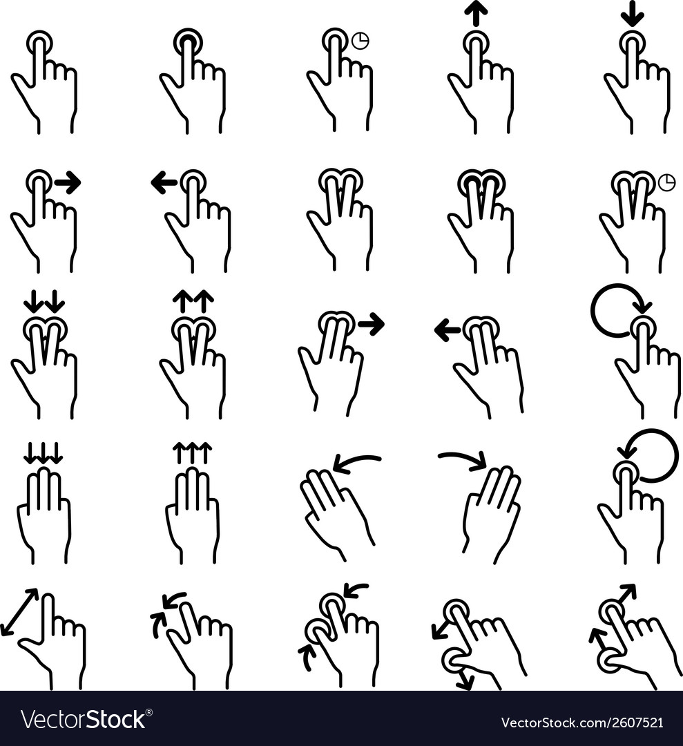 Touch gestures line icons set vector | Price: 1 Credit (USD $1)