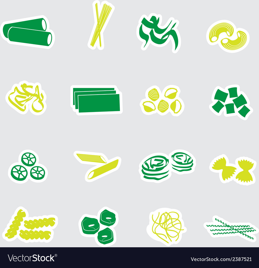 Types of pasta food stickers eps10 vector | Price: 1 Credit (USD $1)