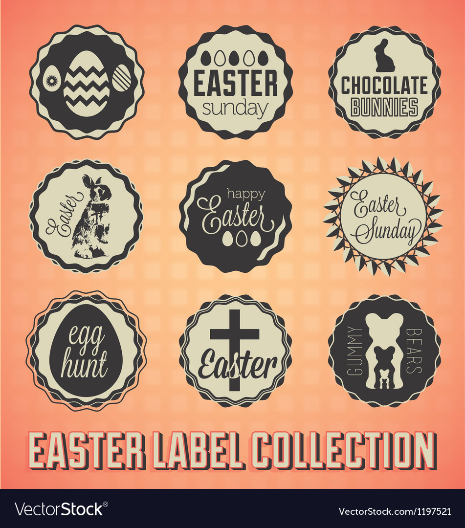 Vintage happy easter labels and badges vector | Price: 1 Credit (USD $1)