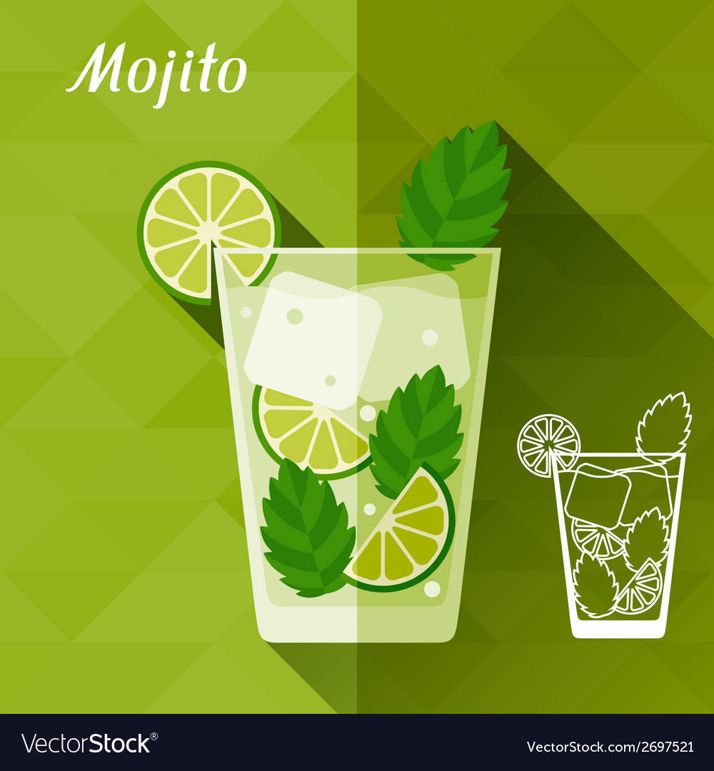 With glass of mojito in flat design style vector | Price: 1 Credit (USD $1)