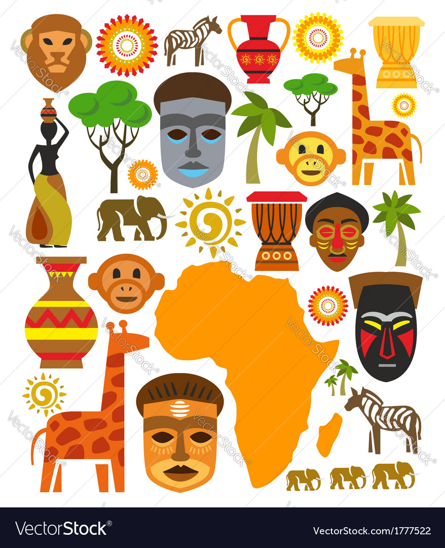 Africa icon set vector | Price: 1 Credit (USD $1)