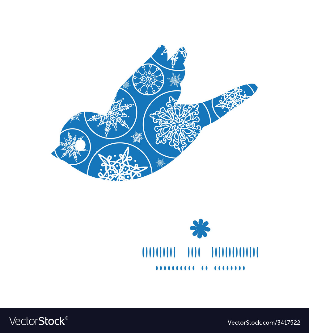Falling snowflakes bird silhouette pattern frame vector | Price: 1 Credit (USD $1)