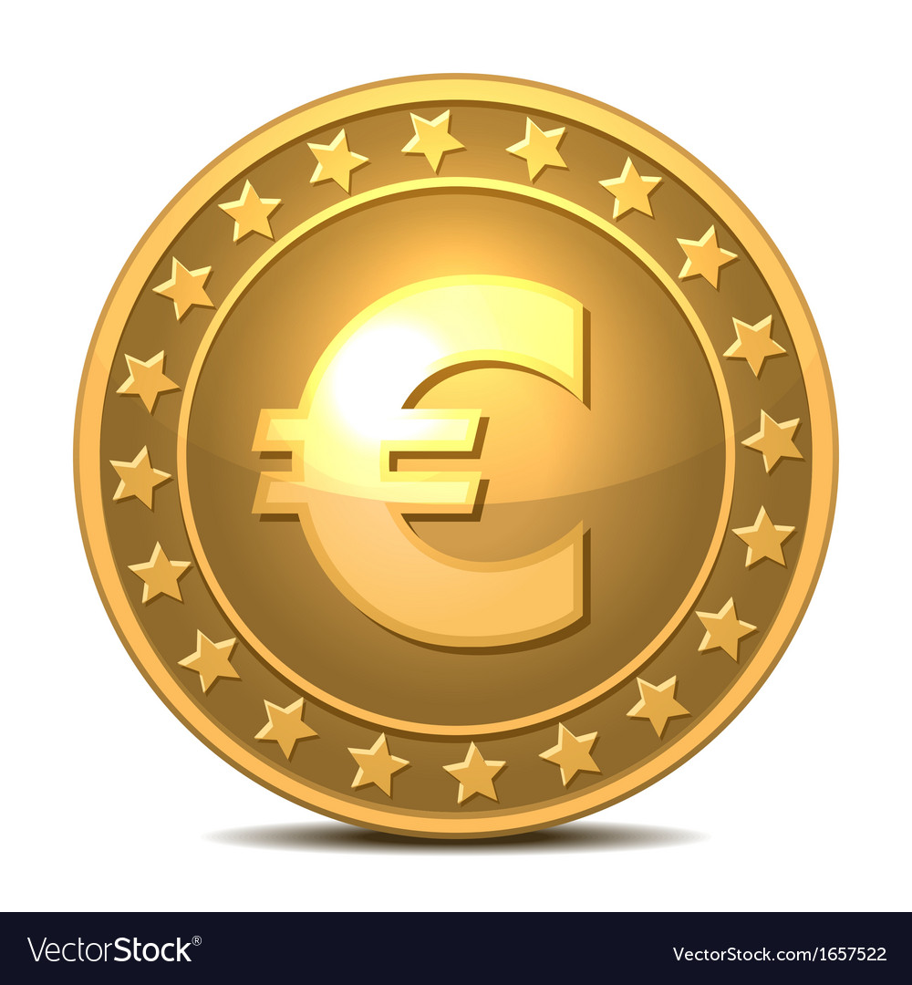 Gold coin with euro sign vector | Price: 1 Credit (USD $1)