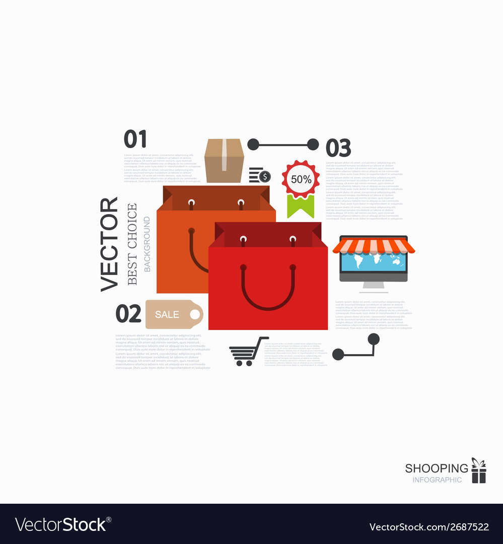 Modern shooping infographic background vector | Price: 1 Credit (USD $1)