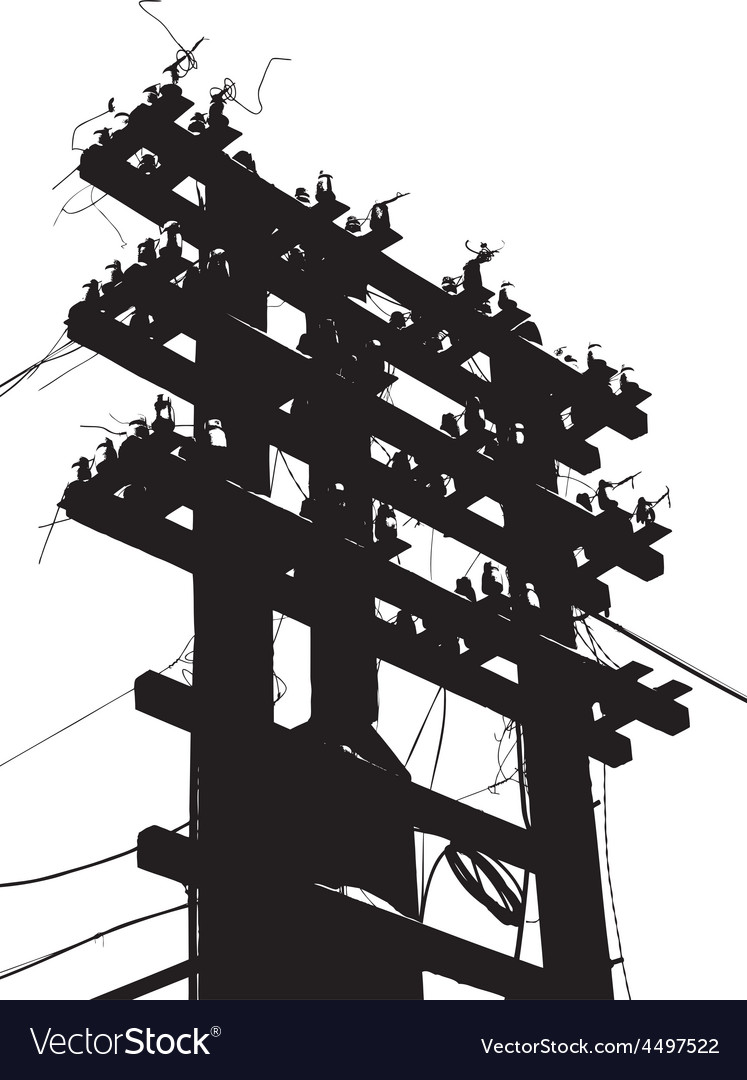 Old decrepit wooden telephone pole on white vector | Price: 1 Credit (USD $1)
