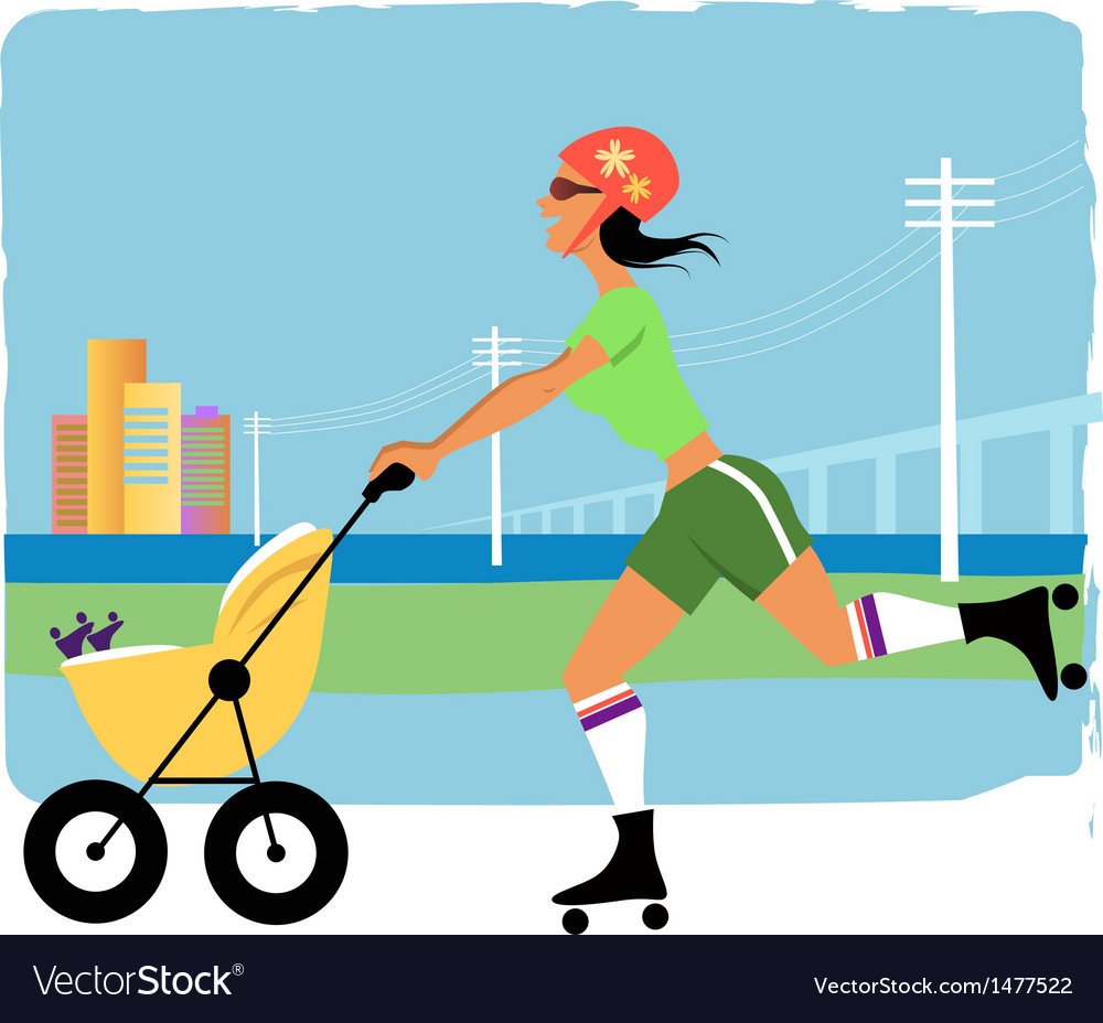 Running with a stroller vector | Price: 1 Credit (USD $1)