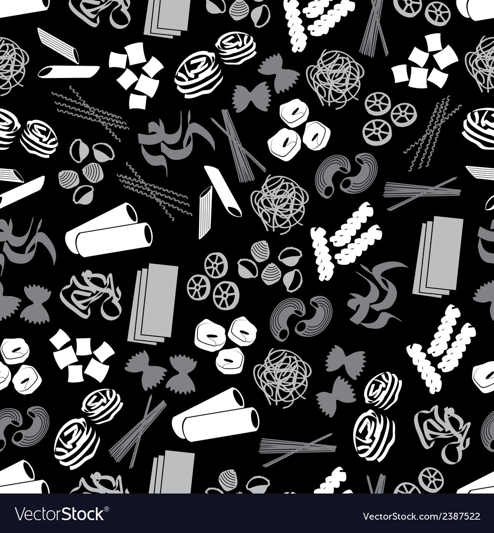 Types of pasta food black and gray pattern eps10 vector | Price: 1 Credit (USD $1)