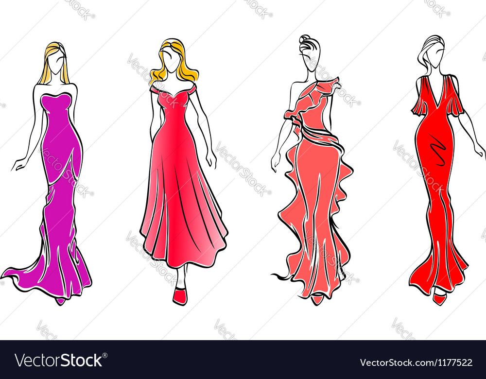 Womens in evening dresses vector | Price: 1 Credit (USD $1)