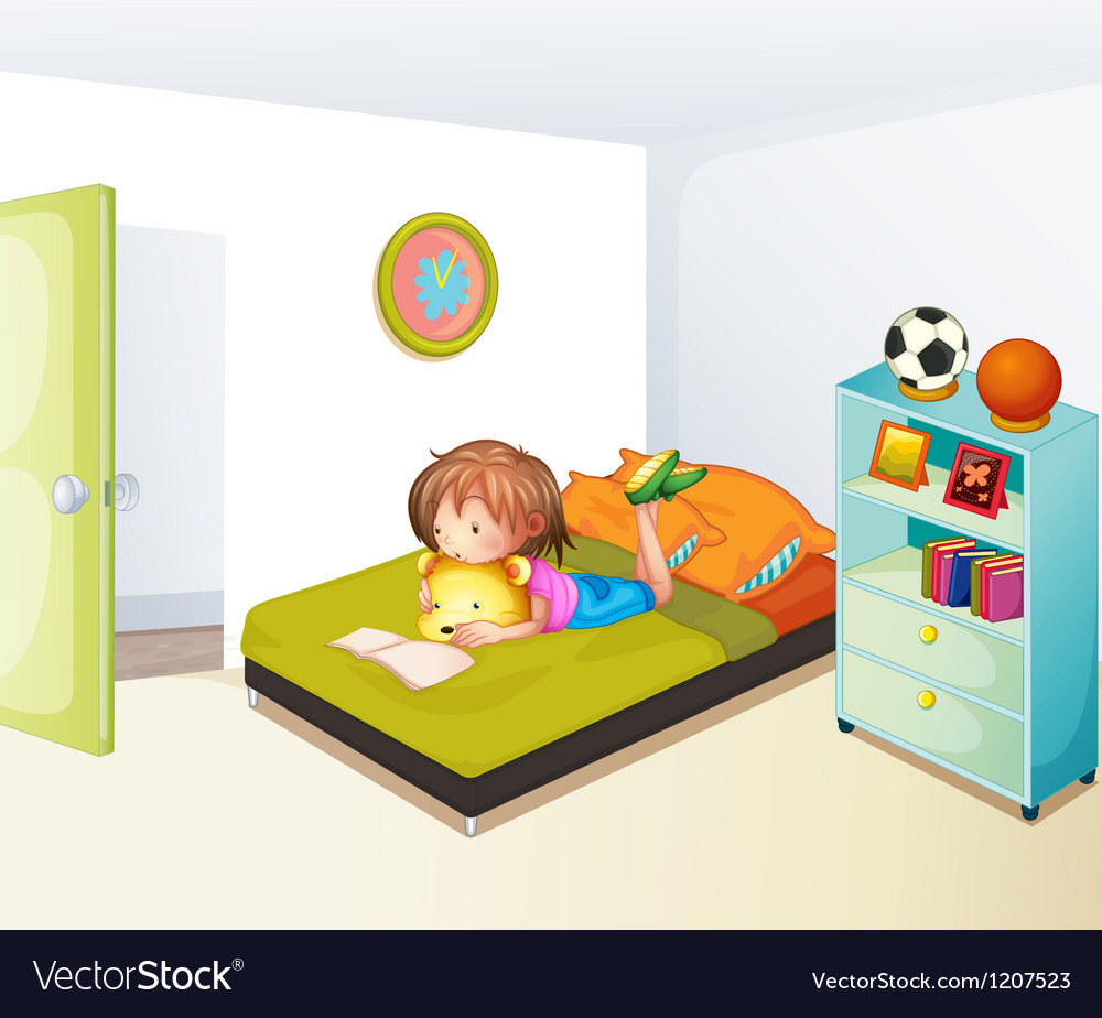 A girl studying in her clean bedroom vector | Price: 1 Credit (USD $1)