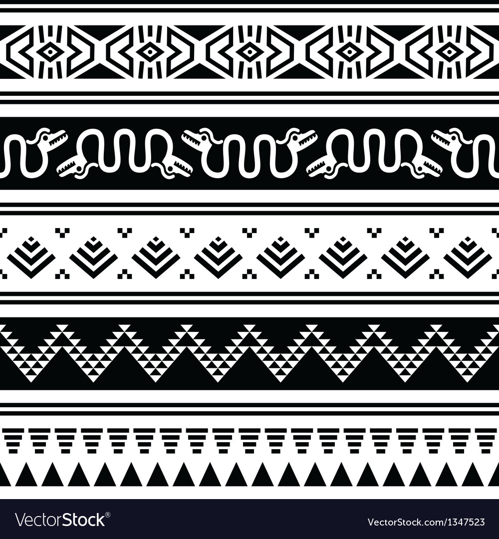 Aztec tribal seamless pattern with animals vector | Price: 1 Credit (USD $1)