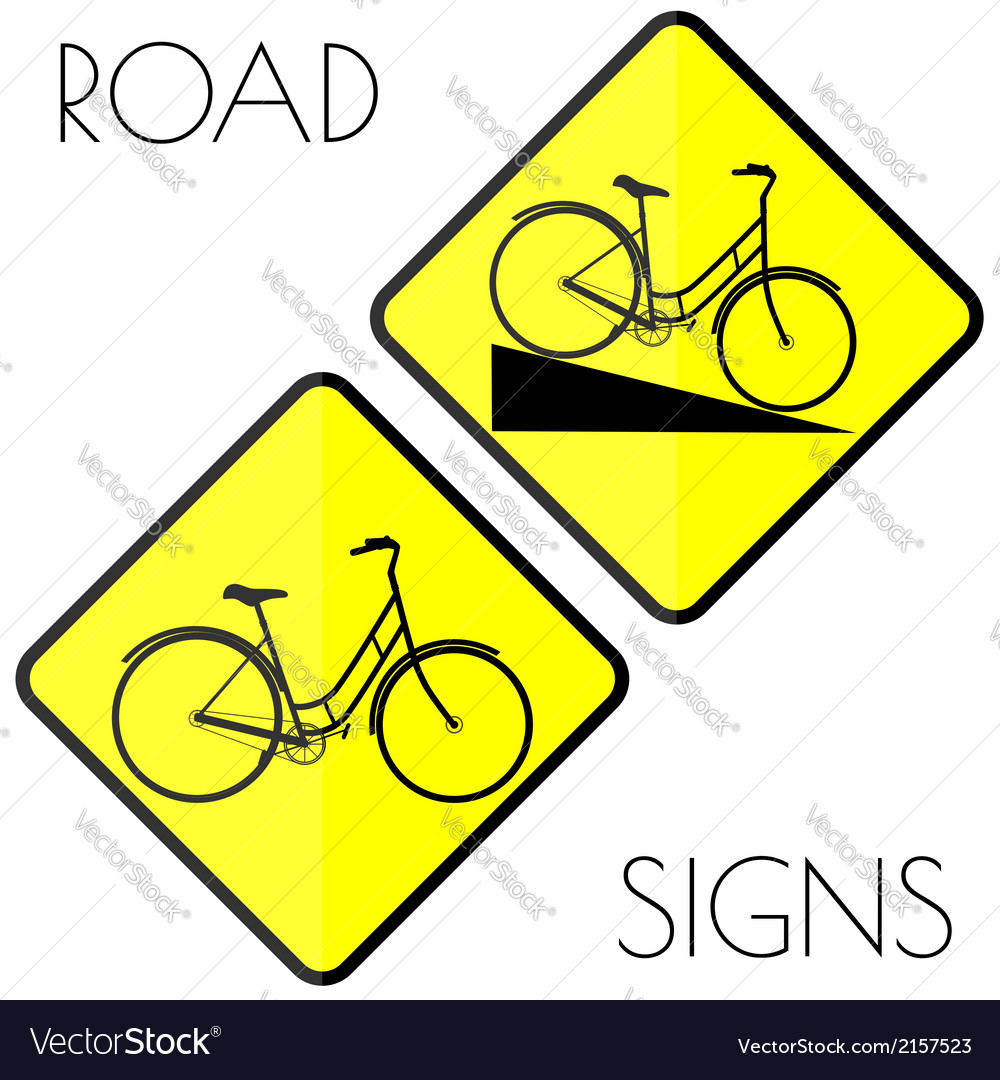 Bicycle yellow road signs vector | Price: 1 Credit (USD $1)