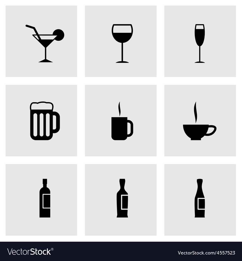 Black beverages icon set vector | Price: 1 Credit (USD $1)