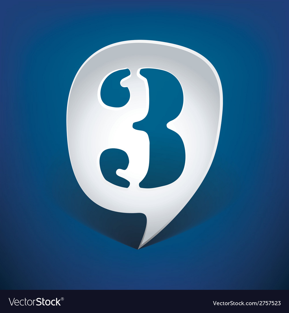 Bubble speech number 3 vector | Price: 1 Credit (USD $1)