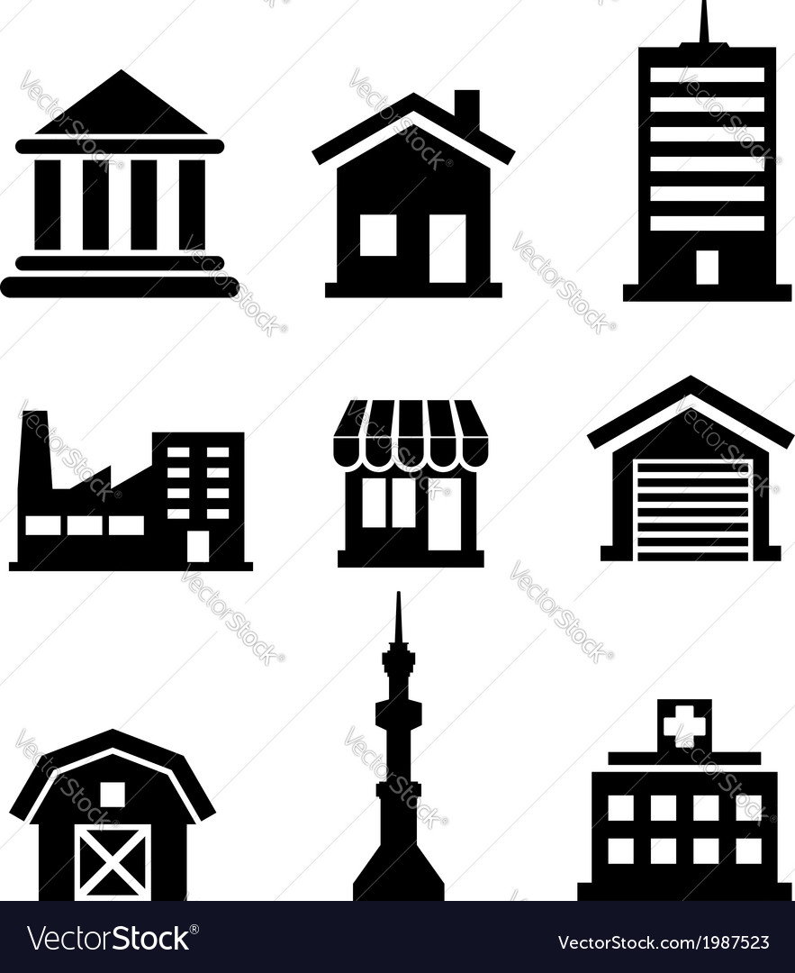 Buildings and architectural icons vector | Price: 1 Credit (USD $1)