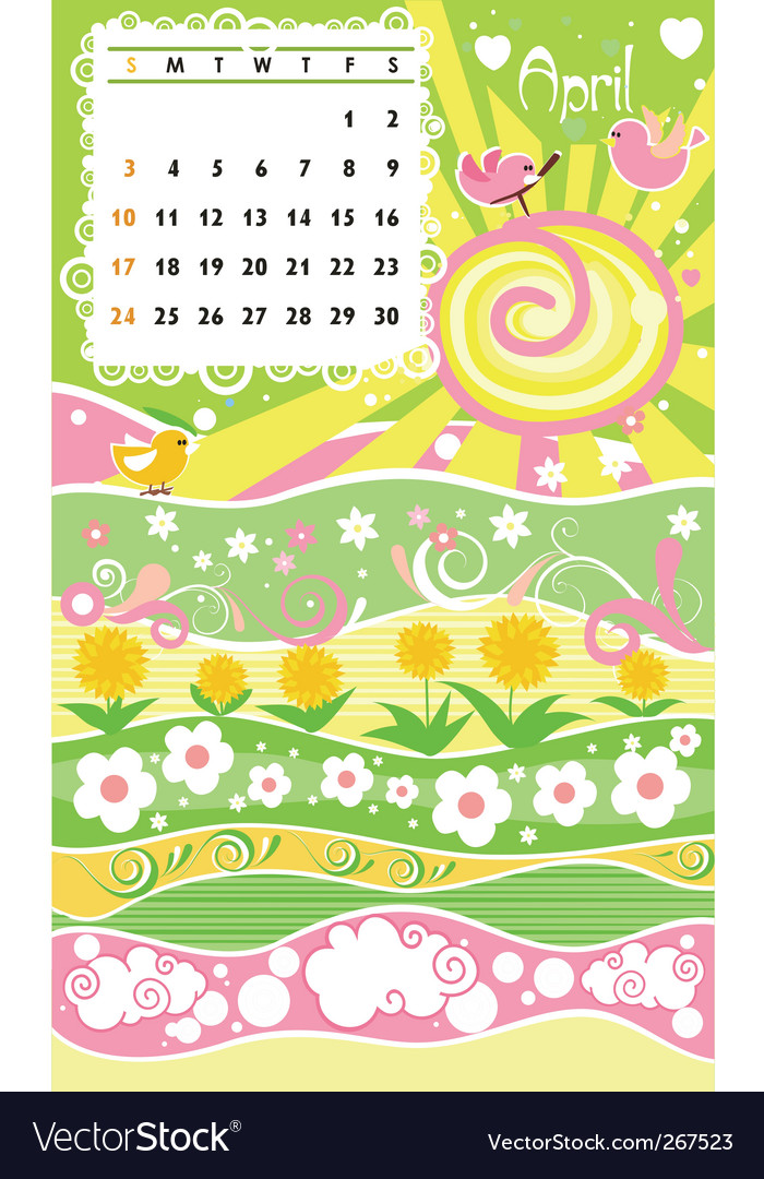 Calendar april vector | Price: 1 Credit (USD $1)