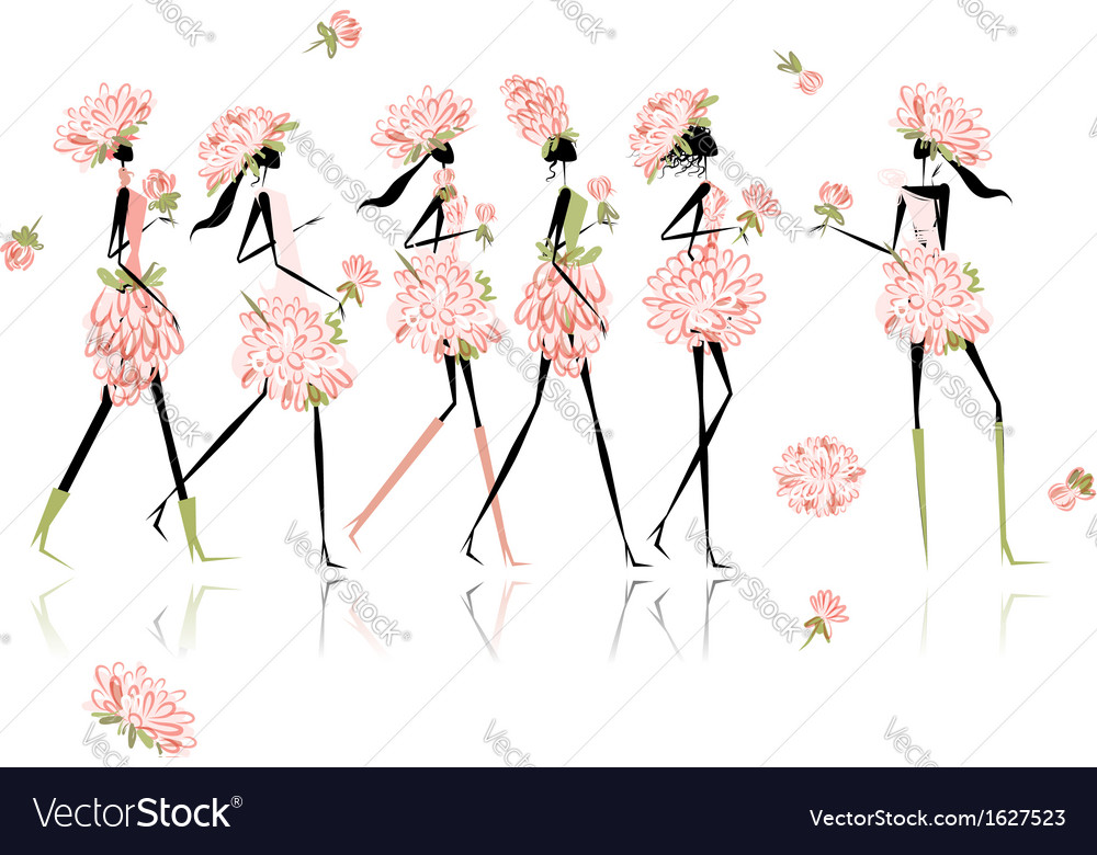 Girls dressed in floral costumes hen party for vector | Price: 1 Credit (USD $1)