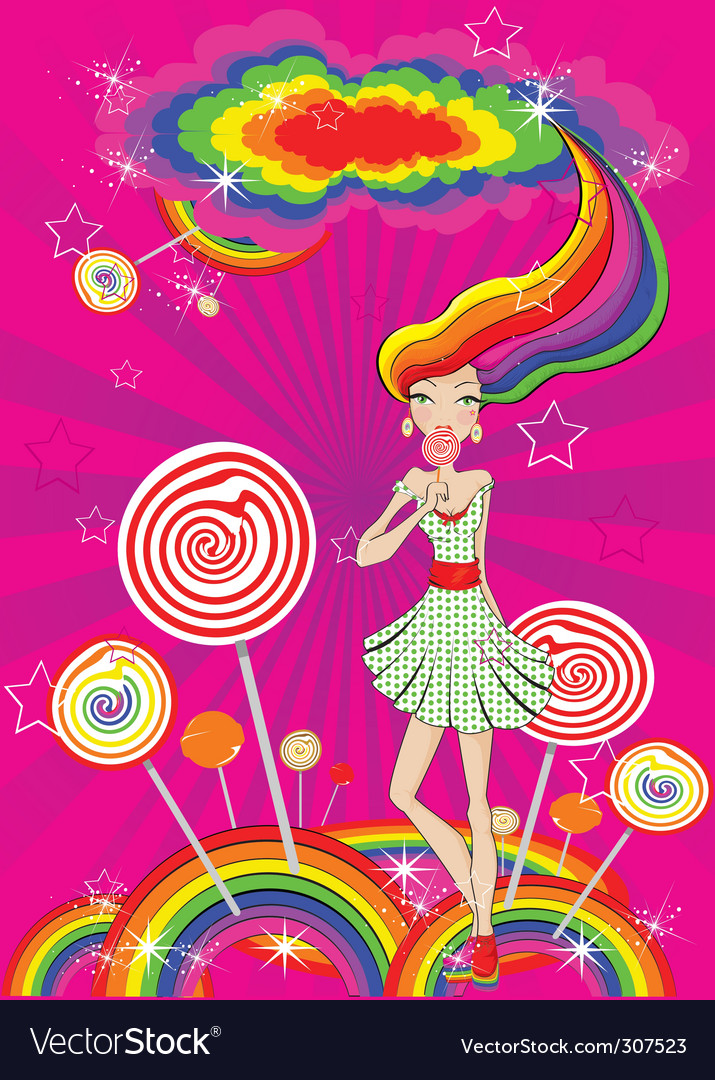 Lolly pop girl vector | Price: 1 Credit (USD $1)