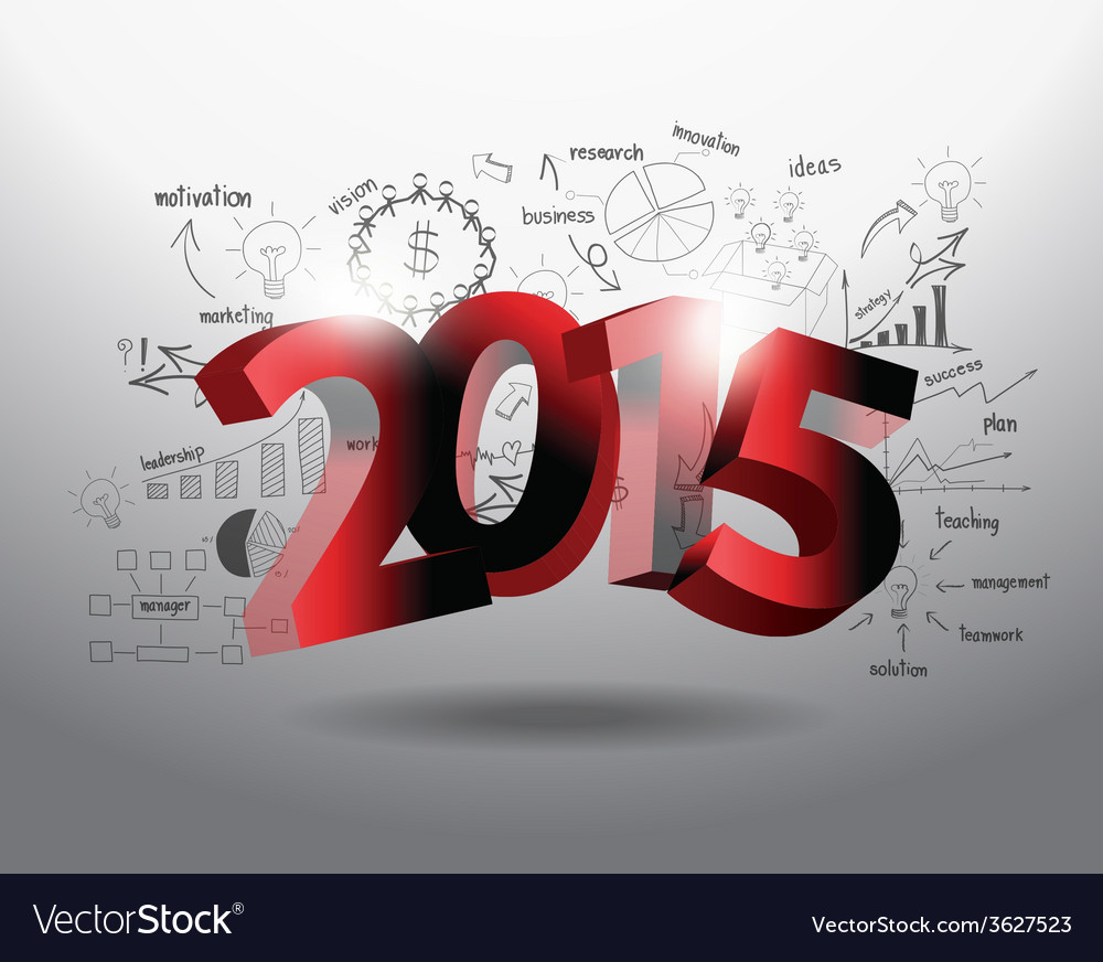 New year 2015 three dimensional vector | Price: 1 Credit (USD $1)