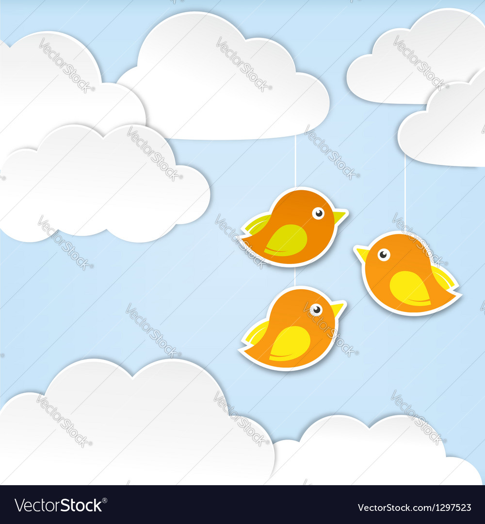 Paper clouds with birds vector | Price:  Credit (USD $)
