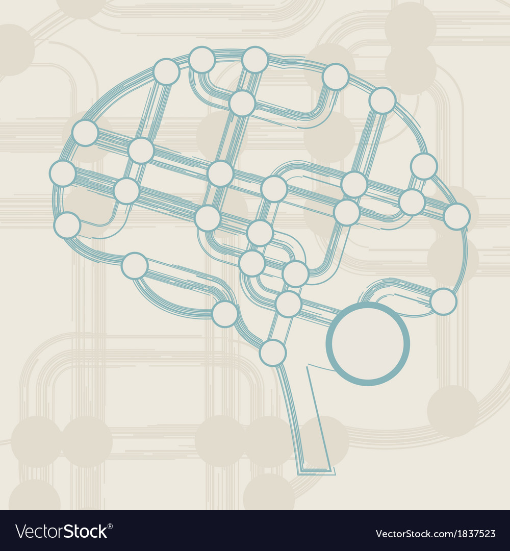 Retro circuit board form of brain vector | Price: 1 Credit (USD $1)