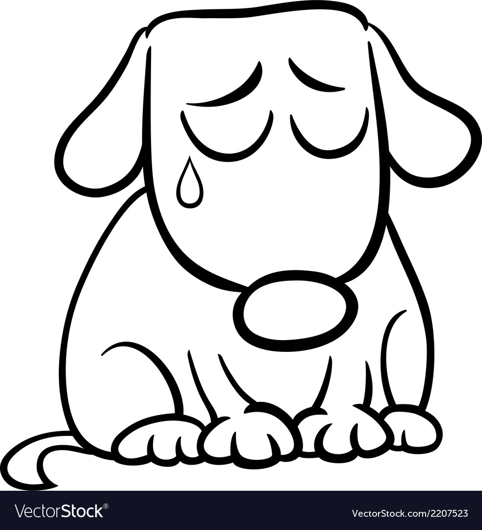 Sad dog cartoon coloring page vector | Price: 1 Credit (USD $1)