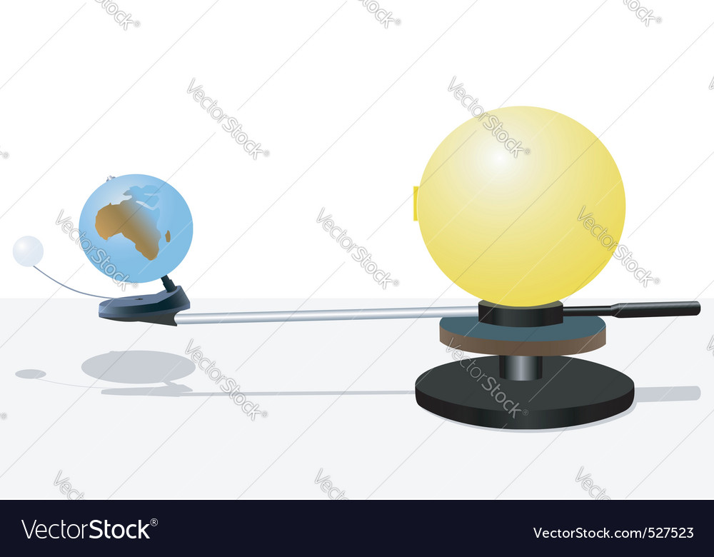 Sun and earth model vector | Price: 1 Credit (USD $1)
