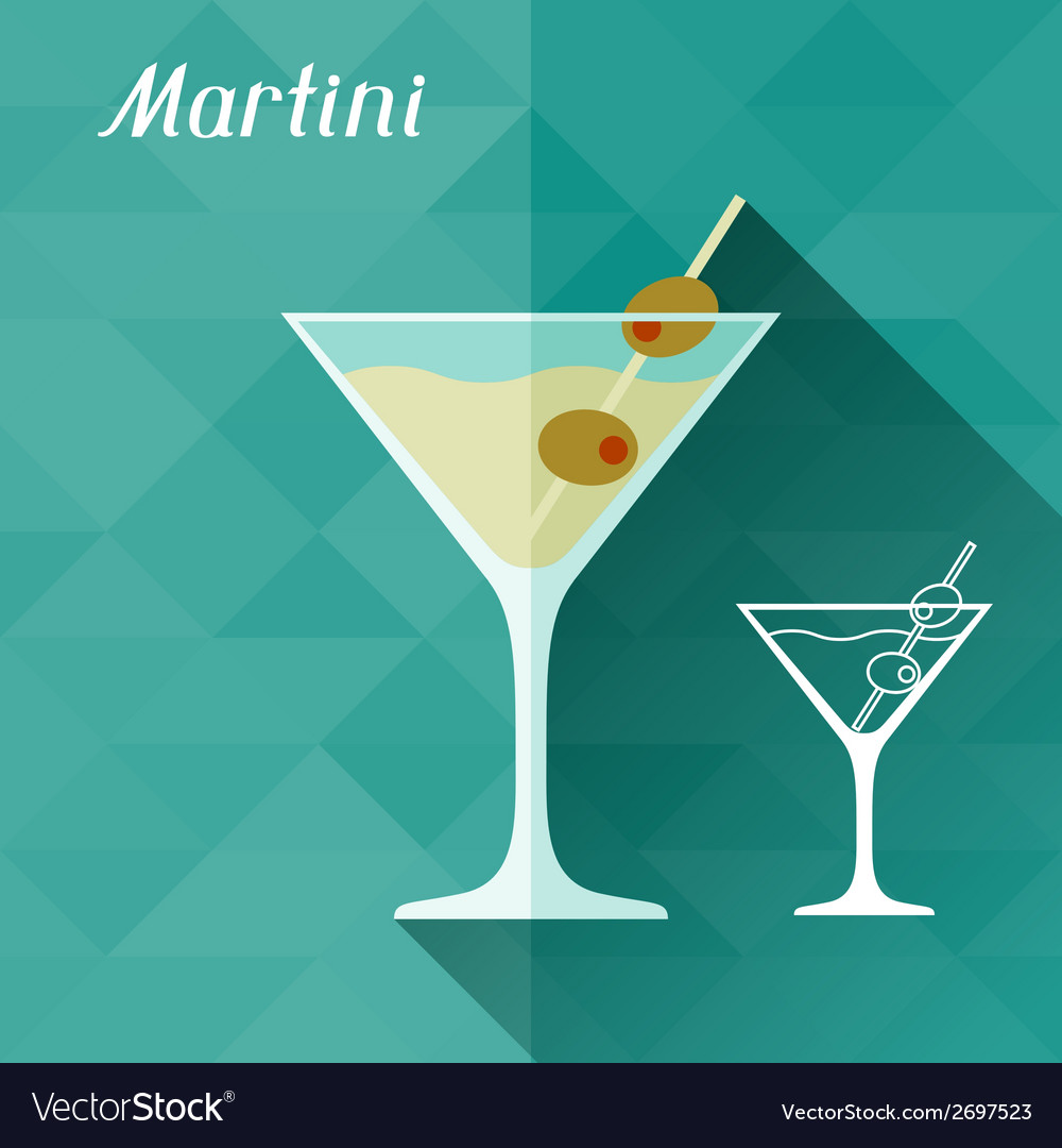With glass of martini in flat design style vector | Price: 1 Credit (USD $1)
