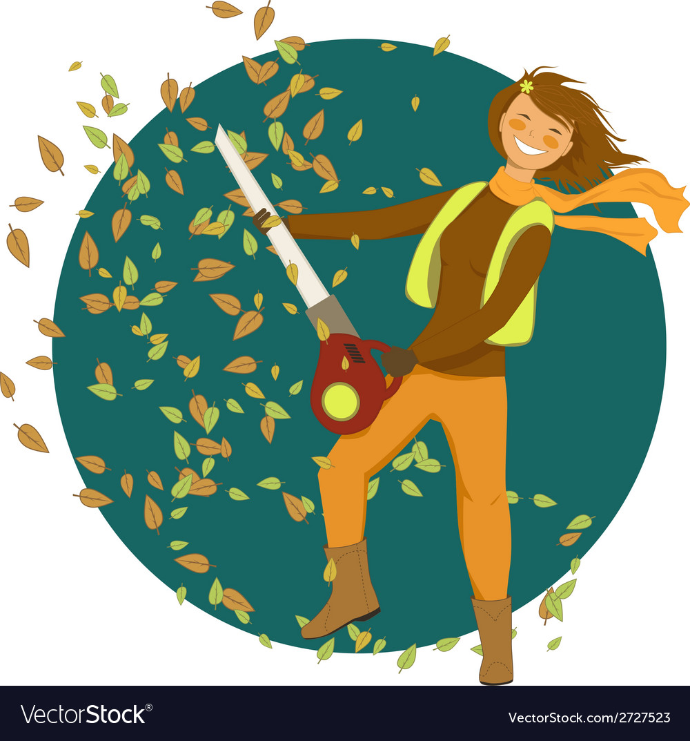 Woman with a leaf blower vector | Price: 1 Credit (USD $1)