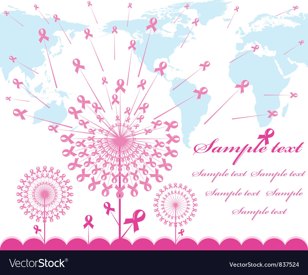 Abstract pink support ribbon background vector | Price: 1 Credit (USD $1)