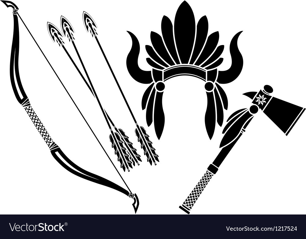 American indian headdress tomahawk and bow vector | Price: 1 Credit (USD $1)