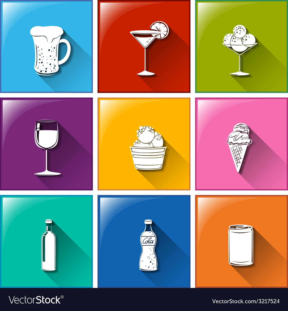 Buttons with the different refreshing drinks vector | Price: 1 Credit (USD $1)