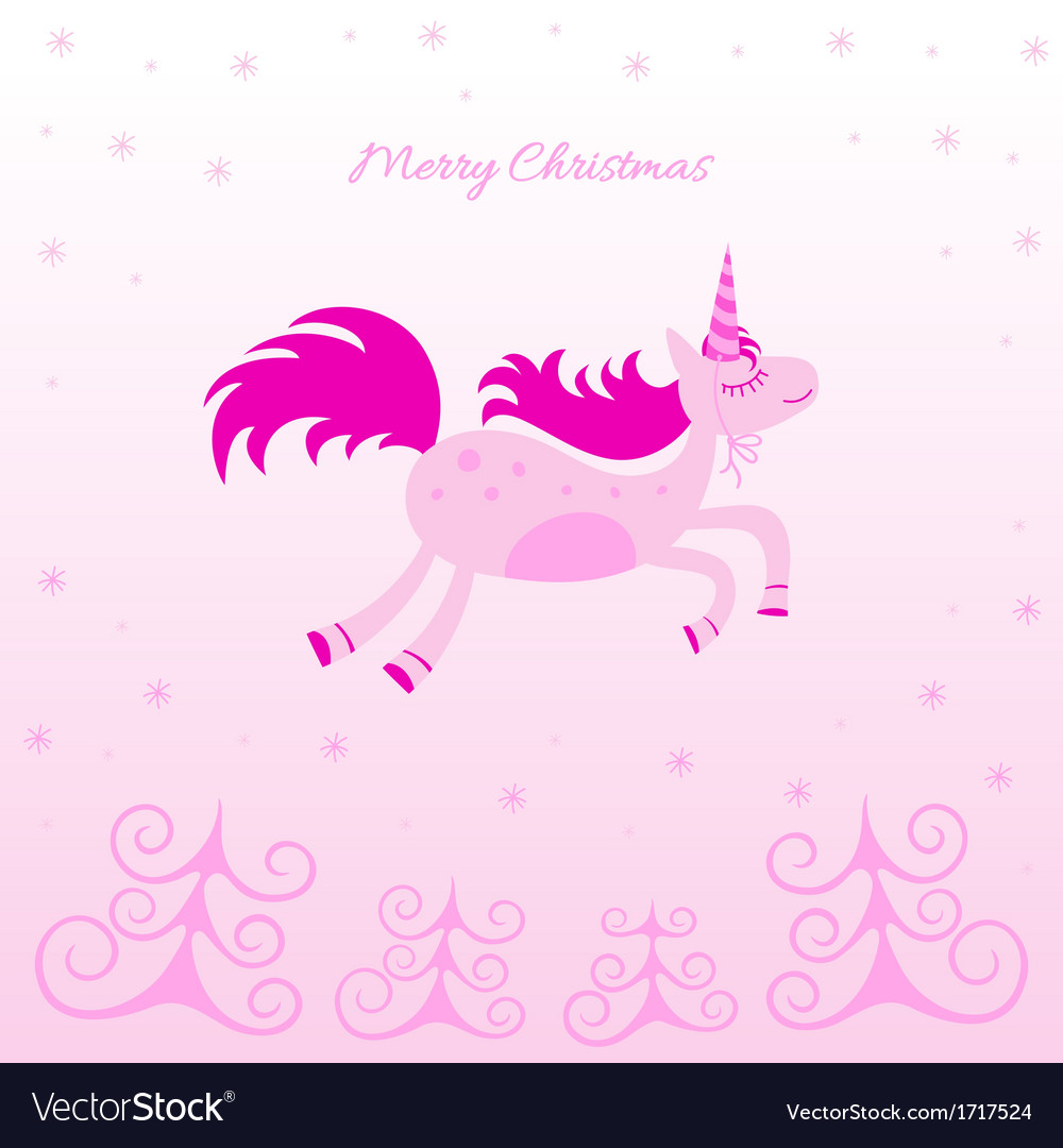 Christmas card with a dreamy horse vector | Price: 1 Credit (USD $1)