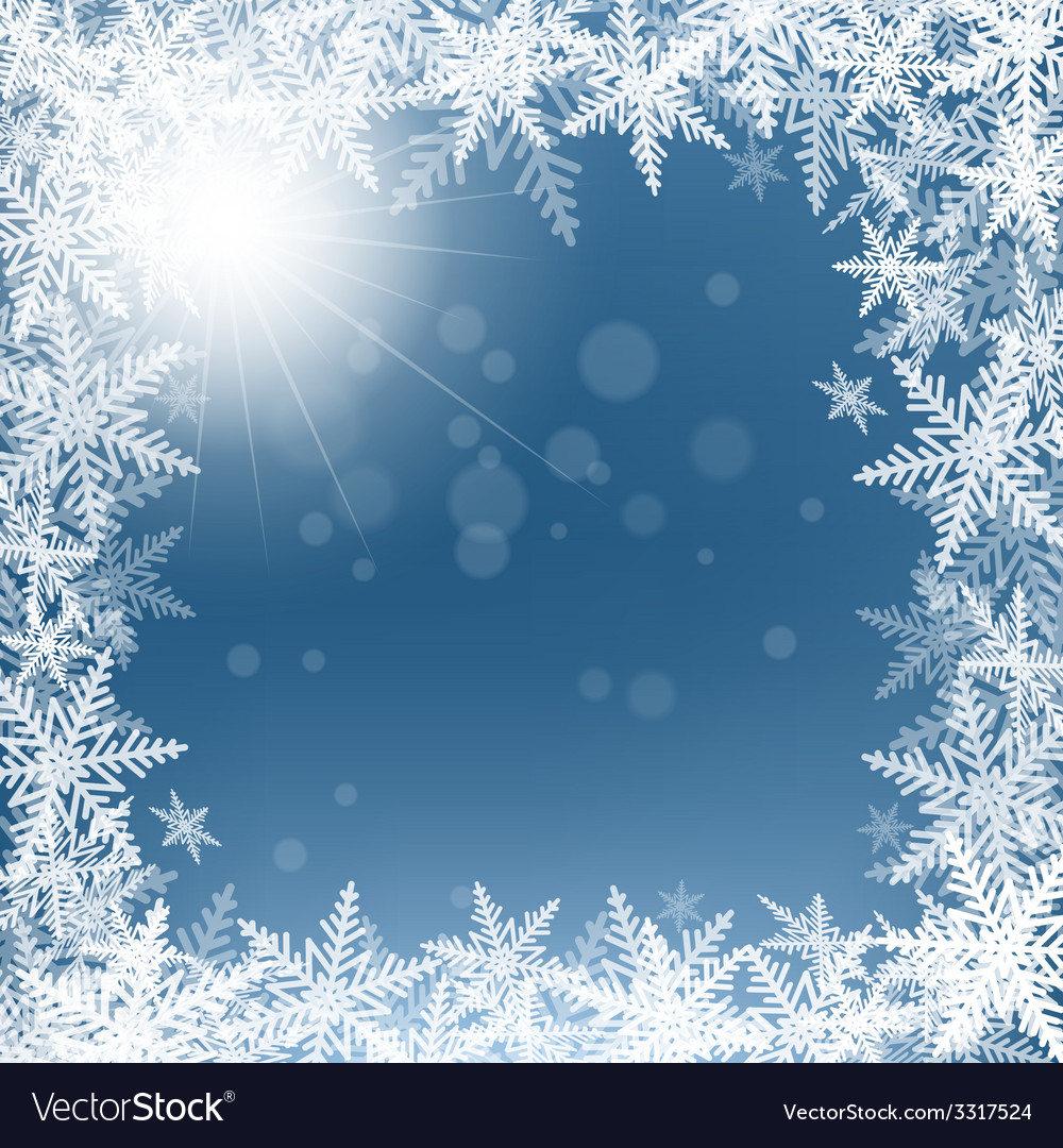 Christmas snowflakes and sun on blue background vector | Price: 1 Credit (USD $1)