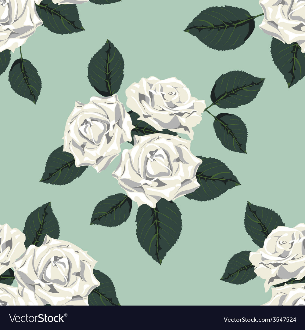 Classic vintage seamless pattern with white roses vector | Price: 1 Credit (USD $1)