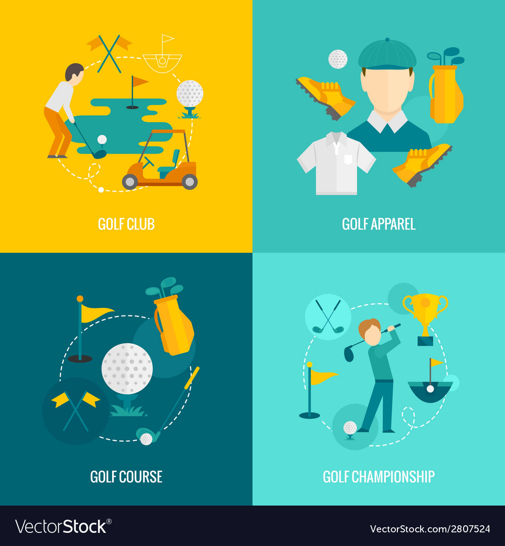 Golf icons flat vector | Price: 1 Credit (USD $1)