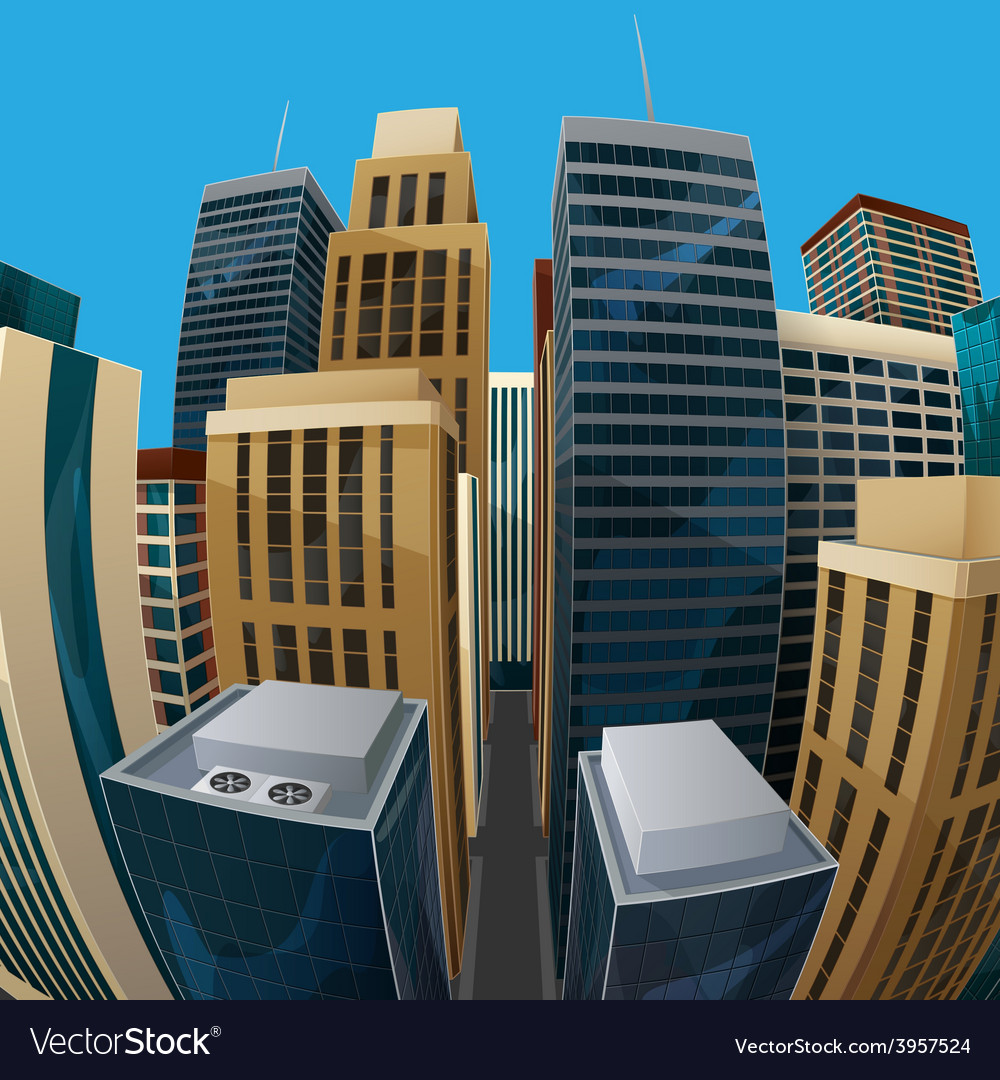 Panoramic fisheye lens cityscape vector | Price: 3 Credit (USD $3)
