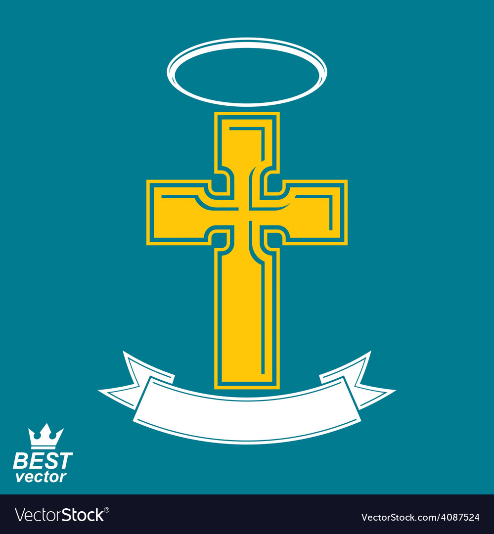 Religious cross emblem with nimbus and decorative vector | Price: 1 Credit (USD $1)