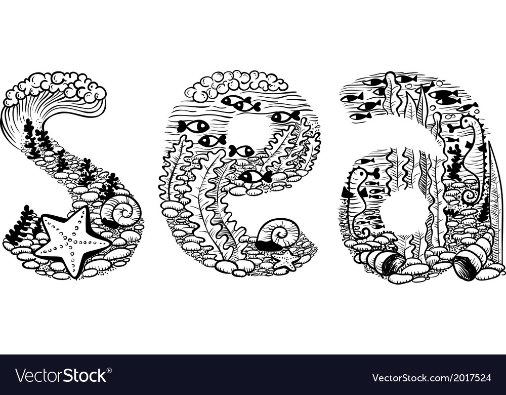 Sea lettering vector | Price: 1 Credit (USD $1)