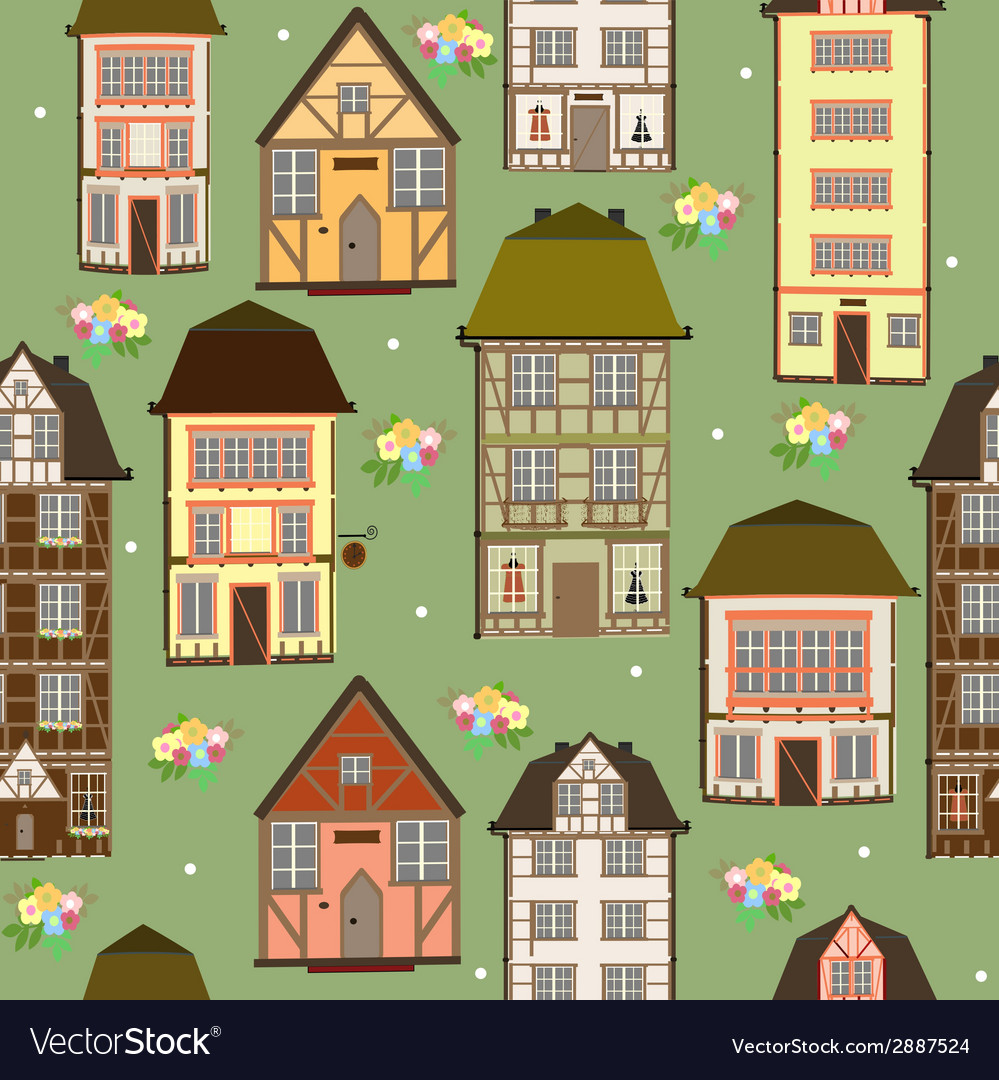 Seamless pattern of houses vector | Price: 1 Credit (USD $1)
