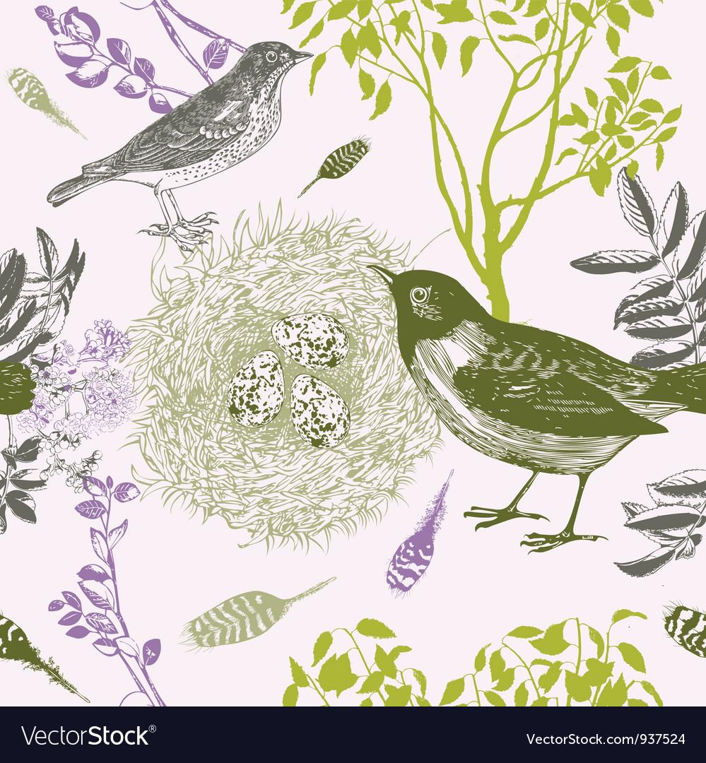 Vintage bird nest pattern vector | Price: 1 Credit (USD $1)