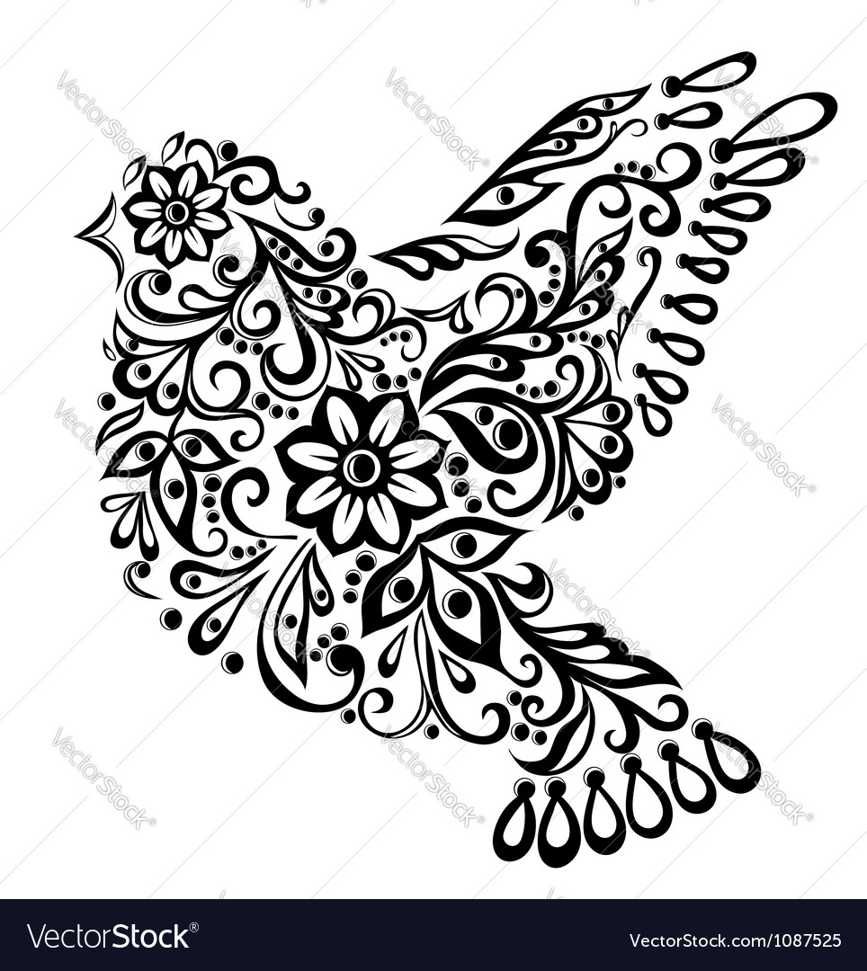 Abstract bird isolated on white hand drawing vector | Price: 1 Credit (USD $1)