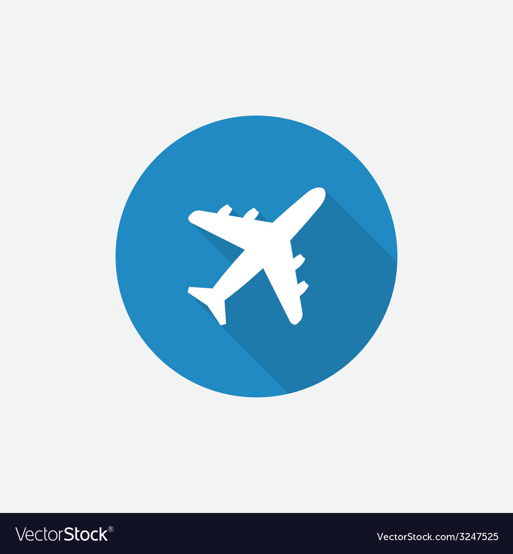 Airplane flat blue simple icon with long shadow vector | Price: 1 Credit (USD $1)
