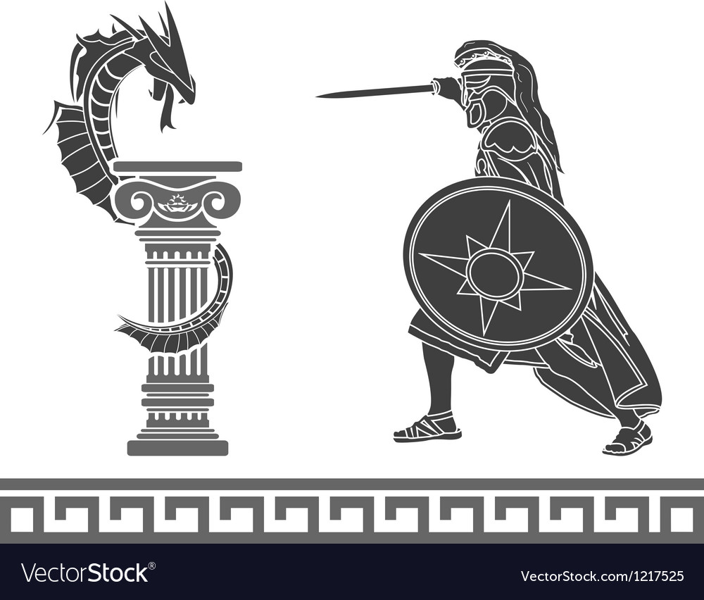 Ancient hero and dragon stencil vector | Price: 1 Credit (USD $1)
